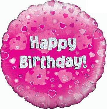 1- folieballon Birthday 18 inch pink = 46cm dubbelzijdig bedrukt