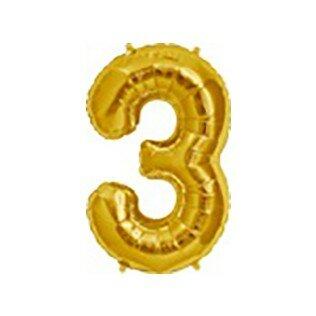 Folieballon cijfer 3 goud - 34 inch = 87cm