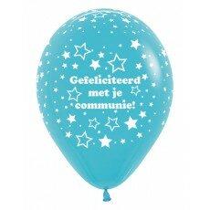Ballon 30cm communie  sterretjes - Blauw