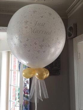 Ballondecoratie ballon huwelijk 90cm met gewichtje