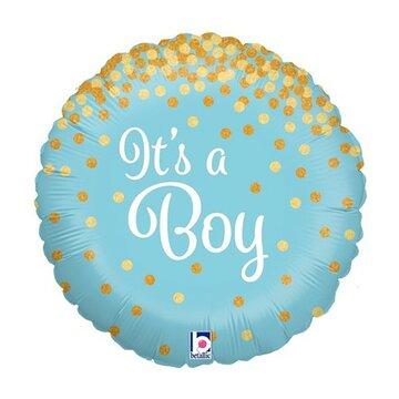 folieballon Boy 18 inch Glitter = 46cm dubbelzijdig bedrukt