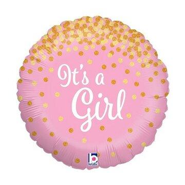 folieballon Girl 18 inch Glitter = 46cm dubbelzijdig bedrukt