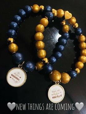 armband blue and gold met tekst naar keuze