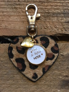 Sleutelhanger Leopard hart met tekst