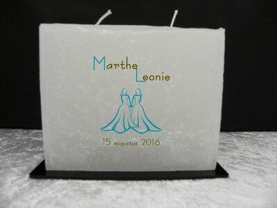 huwelijkskaars model 10 ( tekst en afbeelding in kaars gegoten)