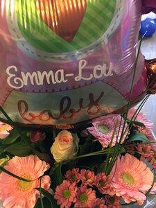 Boeket geboorte met gepersonaliseerde ballon